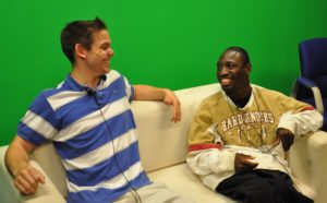 The author (left) and his co-host on set.  Photo by Anson Smith