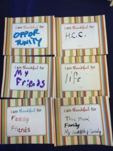 Students' responses to what they are thankful for