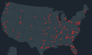 National map of 150 school shootings since 2012. Courtesy of EverytownforGunSafety.org