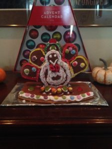 Forget scrambling for the latest bargains. Many stores are closing on Thanksgiving day to allow employees to spend time with friends and family. Bring on the gingerbread turkeys! Photo by  Rachel Tomis.  Turkey craft built by Rachel Tomis and the author.