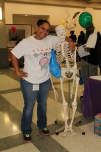 Professor Avant and her happy Skeletal Model