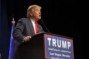Republican presidential candidate Donald Trump speaks at campaign event at Westgate Las Vegas Resort & Casino the day before the CNN Republican Presidential Debate. (Photo by Joseph Sohm / Visions of America. Used with permission of Britannica ImageQuest.)