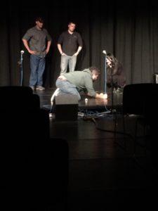 Club members George Stewart, Enrique Rivera, Cori Turk, and Rich Navarette perform an improv scene. (Photo by author)