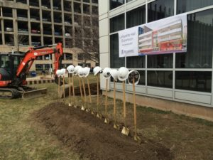Hard hats and shovels before the Groundbreaking. (Photo by the author)