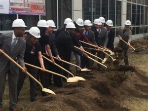 Honored Speakers breaking ground. Photo by the Author.