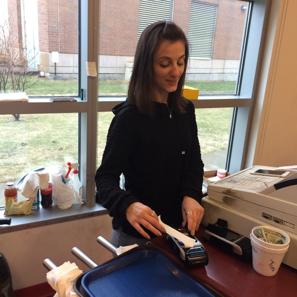 Fadiola Gojani at work in the Beacon Hall Cafeteria at HCC (Photo by the author)
