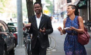 Andre Allen (Chris Rock) and Chelsea Brown (Rosario Dawson) get a bite to eat during the day's adventure.