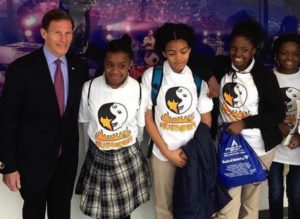 Students meet U.S. Senator Richard Blumenthal. (Photo courtesy of Bridgeport Prospers)