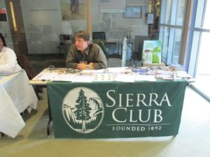 John Calandrelli, a member of the CT chapter of the Sierra Club manned a table at the Environmental Fair. Photo by Kathleen Chaves.
