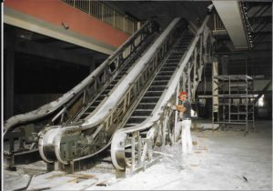 A former shopping mall escalator inside Lafayette Hall. Photo by Eleanor C. Winkel from the Presidents Archive of Housatonic Community College.