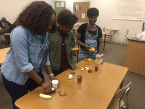 Students partaking in fun food activities. (Photo by the author)