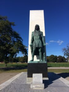 Statue of Christopher Columbus overlooking Long Island Sound. Photo by Isabelle Brown