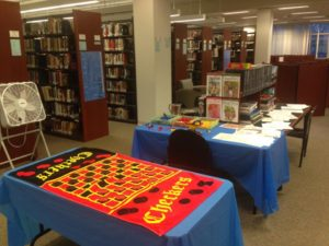 The set up for the library's event. Photo courtesy of Housatonic Community College library.